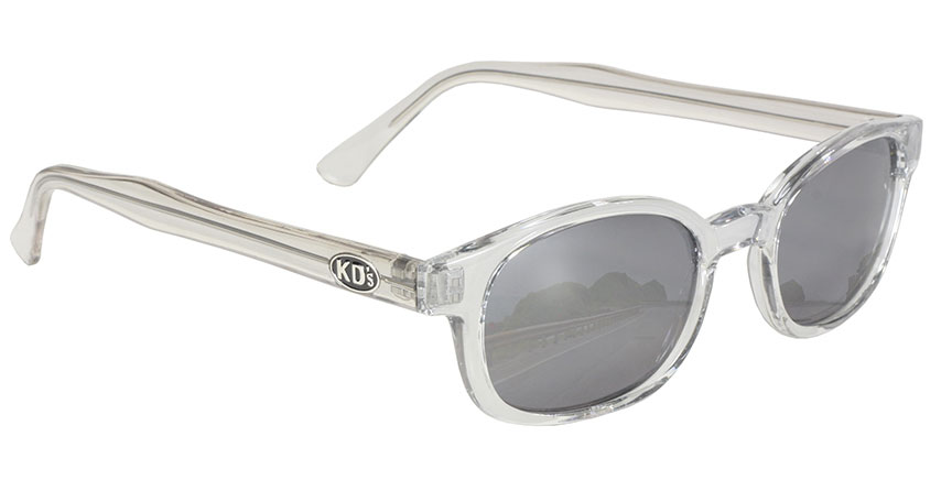 Chill KDs - Clear Frame Silver Mirror KDs, The Original KDs KD sunglasses, biker sunglasses, motorcycle sunglasses