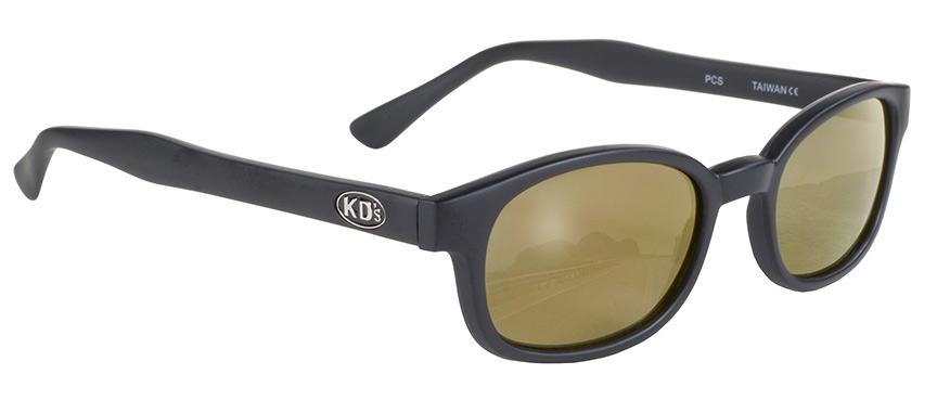 X-KD's Original 1 Pair Matte Black Gold Lens Old School Biker Sunglasses 1000