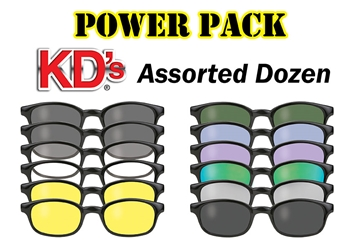 12 Pair KDs Power Pack KD Sunglasses Dozen Assortment, Biker Sunglasses, Wholesale Biker Assortment, KD Sunglasses Bulk