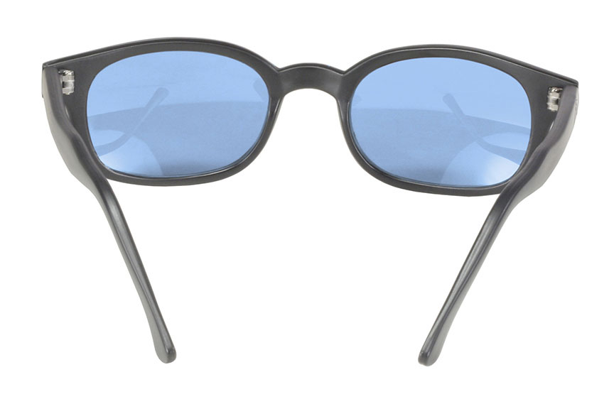 KD's 12 Pair Matte Black Frame Light Blue Lens Old School Biker Sunglasses 20012