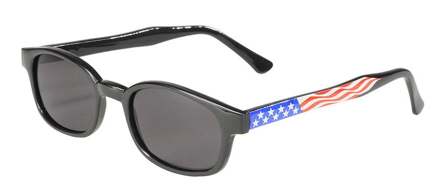 KD's Original 1 Pair  Flag Frame Smoke Lens Old School Biker Sunglasses 20050