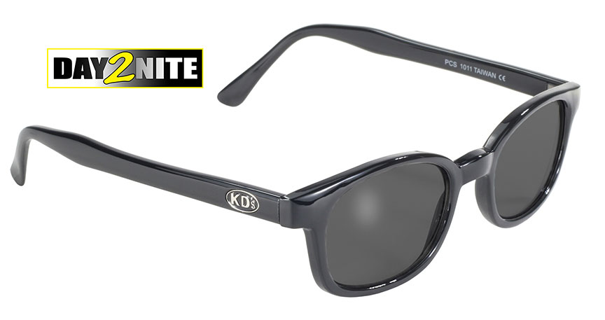 X-KD's 1011 Grey Day 2 Nite Lens Black Frame Old School Motorcycle Sunglesses