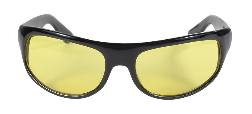Pacific Coast 20712  Pacific Coast Wrap Sunglasses Yellow Lens Black Frame