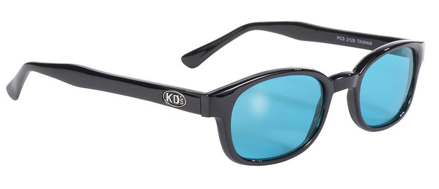 KD's Original Black 1 Pair Turquoise Lens Old School Biker Sunglasses 2129