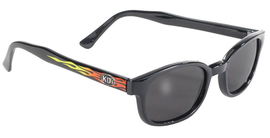 KD's Original Black 1 Pair Flame Smoke Lens Old School Biker Sunglasses 3010