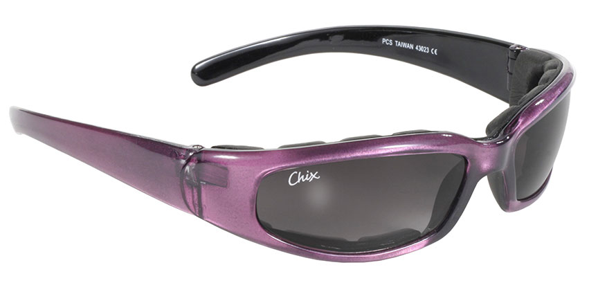 Chix Rally - Grey Gradient/Purple Women's Padded Motorcycle Sunglasses, most popular women's motorcycle sunglasses, Chix sunglasses for women