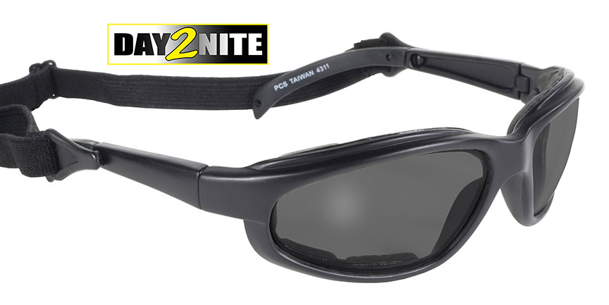 Airfoil Freedom 4311- Day2Nite/Black Photochromic lenses, transition lenses, lenses that change, comes with a strap