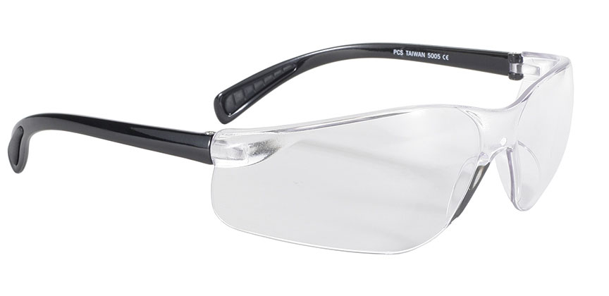 Spoiler - Clear/Black safety glasses, clear safety glasses, wrap clear lens sunglasses, polycarbonate lenses,